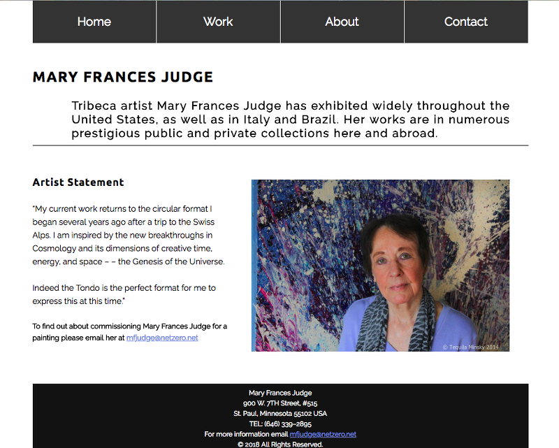 Mary Frances Judge WebSite